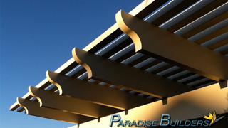Corbel cut patio cover in artistic form in the las vegas sunset