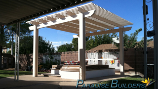 Freestanding aluminum Patio Cover over inground spa in a las vegas nevada backyard